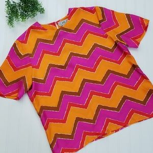 Carlisle Vintage Chevron Stripe Silk Top sz 14